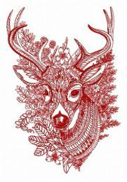 Mosaic deer machine embroidery design 3