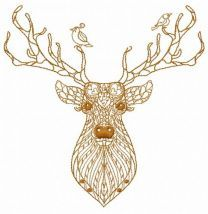 Mosaic deer machine embroidery design 5