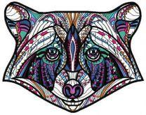 Mosaic raccoon machine embroidery design