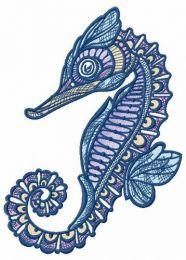 Mosaic sea horse embroidery design