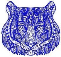 Mosaic tiger machine embroidery design 3