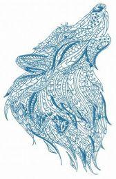 Mosaic wolf machine embroidery design 5