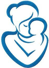 Mother and baby free machine embroidery design