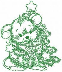 Mouse with Christmas tree one colored embroidery design