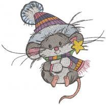 Mouse in a knitted hat embroidery design