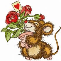 Mouse received a pot of roses as gift embroidery design