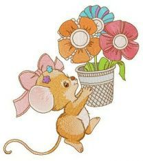 Mousekin with flower pot