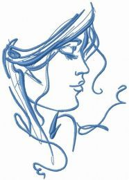 My beloved's face sketch embroidery design