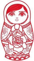 Nesting doll red embroidery design