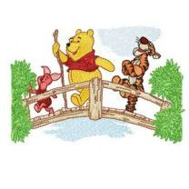 Winnie Pooh, Tigger and Piglet on the bridge