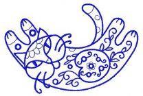Ornamental cat machine embroidery design 2