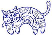 Ornamental cat machine embroidery design 4