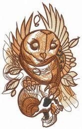 Owl holding skull