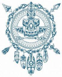 Owl totem machine embroidery design 4