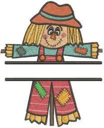 Patchwork scarecrow monogram embroidery design