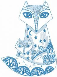 Patterned fox family embroidery design