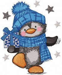 Penguin carries a gift embroidery design
