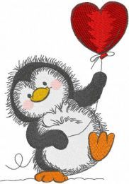 Penguin with red balloon embroidery design