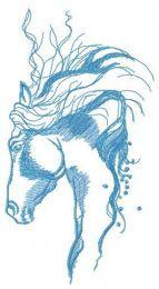 Pensive horse sketch embroidery design