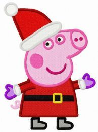Peppa Pig in Santa costume embroidery design