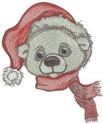 Polar bear in Santa hat
