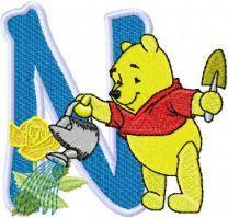 Pooh loving flowers Alphabet Letter N