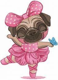 Pug dog ballerina embroidery design
