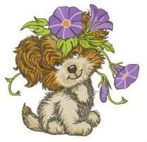 Puppy with Slender bindweed embroidery design