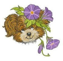 Puppy with Slender bindweed wreath embroidery design