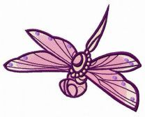 Purple dragonfly embroidery design