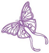 Purple stars and moons butterfly embroidery design