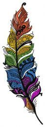 Rainbow feather machine embroidery design