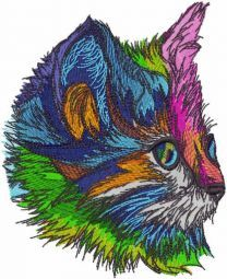 Rainbow kitten muzzle embroidery design
