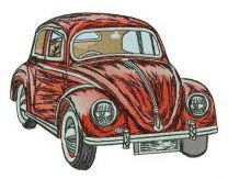 Red Volkswagen Bug embroidery design