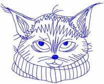 Cat with scarf redwork machine embroidery design
