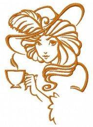 Retro girl with coffee cup embroidery design 2