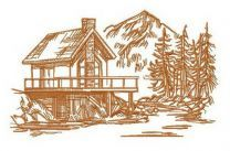 River house sketch embroidery design