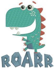 Roarr dinosaur embroidery design