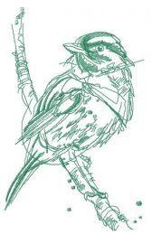 Robin bird sketch embroidery design