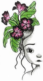 Sad girl with violets