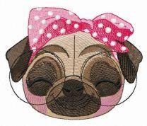 Satisfied pug-dog embroidery design