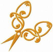 Scissors with leaf motif