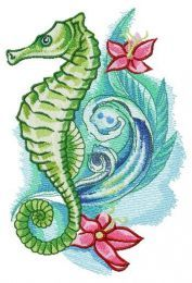 Sea horse with flowers