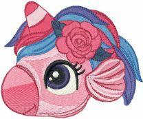 Sea unicorn head embroidery design