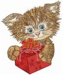 Shaggy cat with present embroidery design