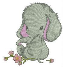 Shy elephant girl embroidery design