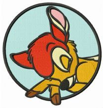 Sleeping Bambi badge embroidery design