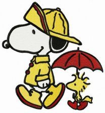 Snoopy and Woodstock walking under rain