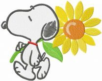 Snoopy with sunflower embroidery design 2