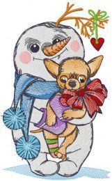 Snowman with chihuahua embroidery design